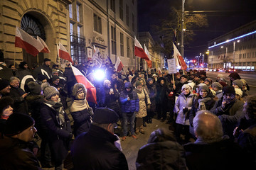 People protest in front of the court building in Gdansk
