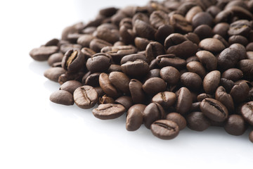 Roasted coffee beans.Top view close up shoot