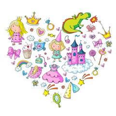Cute princess Icons set with unicorn, dragon Girl wallpaper Baby shower Invitation Kindergarten, preschool, nursery, birthday, school party