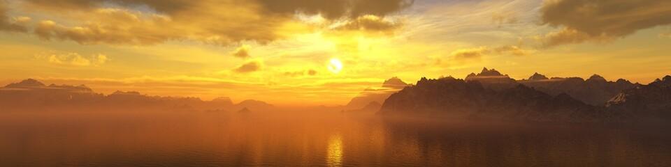 beautiful sea sunset, panorama of the ocean under the sky, 3d rendering