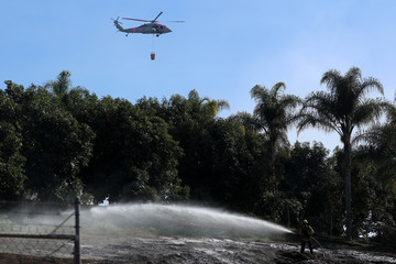 An U.S. military helicopter from Camp Pendleton makes a water drop as a firefighter puts out a hotspot at an avocado farm after the Lilac Fire, a fast moving wildfire in Bonsall, California
