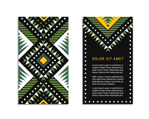 Aztec colorful ornamental card template shades of green. Indian leaflet design. Tribal decorative pattern. Ethnic ornate background. Vintage style flyer. EPS 10 vector brochure.