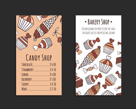 Chocolate cake, candy, ice cream doodle card set. Brown and beige colored decorative brochure template with hand-drawn sweets. Cookery design flyer. Culinary concept background. EPS 10 vector