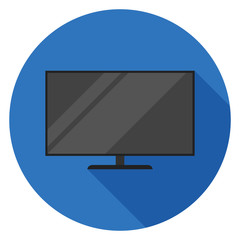 TV icon. Illustration in flat style. Round icon with long shadow.