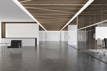 Wooden ceiling office lobby