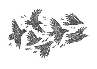 Vector hand drawn illustration of flying flock of birds in sky