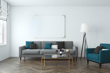 White wall living room, sofa, poster