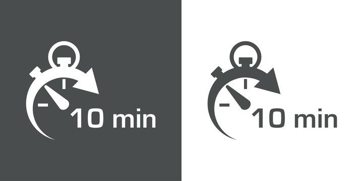 Icono plano cronometro con 10 min gris y blanco