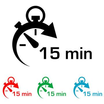 Icono plano cronometro con 15 min en varios colores