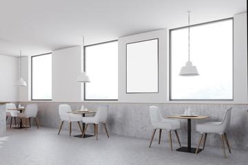 White cafe corner, poster, side