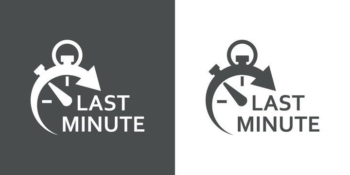 Icono plano cronometro con LAST MINUTE gris y blanco