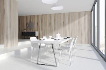 Wooden dining room corner