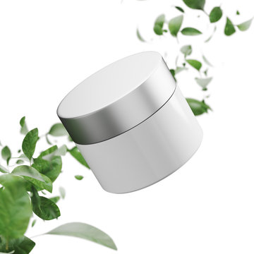 White cream jar, white background