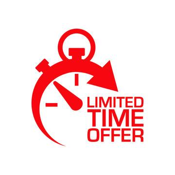 Icono plano cronometro LIMITED TIME OFFER rojo en fondo blanco