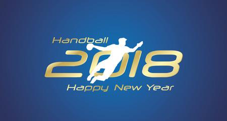 Handball shot 2018 Happy New Year gold logo icon blue background