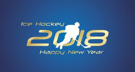 Ice Hockey pass 2018 Happy New Year gold logo icon blue background