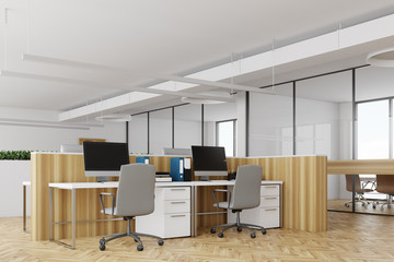 White office, wooden desks side