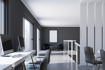 Black office with a poster