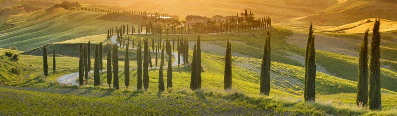 orange sunset in Tuscany in Italy