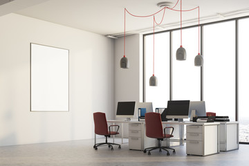 White office corner, red chairs, poster