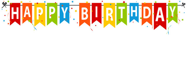 Happy Birthday Party Flags - Editable Vector Illustration