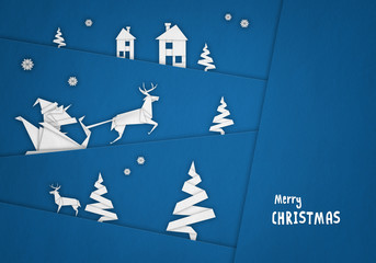 Merry Christmas - paper origami with Santa Claus background ( xmas , holiday )