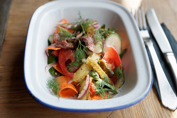 German appetizer of roastbeef and vegetables