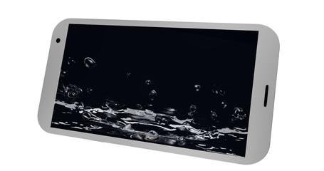 Handy auf dessen display plätscherndes Wasser abgebildet ist.