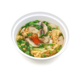 mi goi, noodle soup with fungus on white