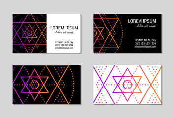Sacred geometry visiting card set. Design blanks with sacral geometric signs. Line art colorful gradient star ornament. EPS 10 vector templates.