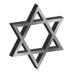 three-dimensional metal six-pointed star David