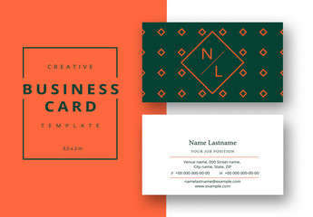 Diamond Patterned Business Card Layout