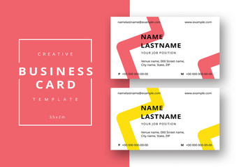 Zig Zag Business Card Layout in Two Colors
