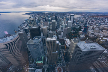 aerial view of downtown seattle skyline,washington