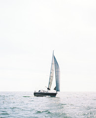 Little yacht in the sea
