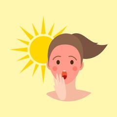 Human avatar woman degree of sunburn beach accessories summer suntan people vector illustration.