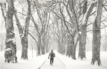 lonely male figure in a blizzard