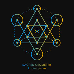 Sacred geoSacred geometry style symbol. Sacral geometric outline sign. Line art gradient colorful elements. EPS 10 linear design vector illustration.metry sign