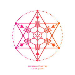 Sacred geometry style symbol. Sacral geometric outline sign. Line art gradient colorful elements. EPS 10 linear design vector illustration.