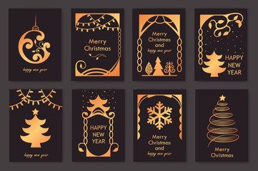 set of beautiful christmas cards. golden silhouette.  new year.vector illustration.