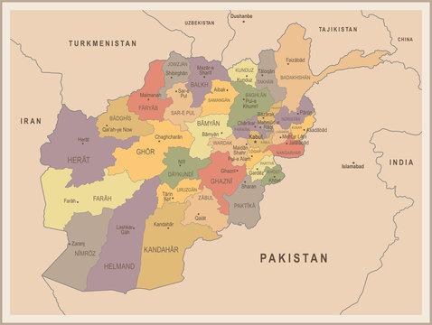 Afghanistan - vintage map and flag - Detailed Vector Illustration