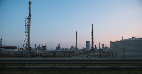 View of industrial factory during sunset