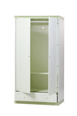 Two-section wardrobe with open doors isolated over white background. With clipping path.