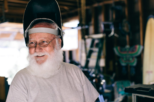 the real Santa in his workshop