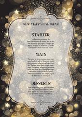 Decorative New Year's Eve menu