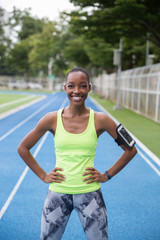 Portrait of a beautiful African American runner