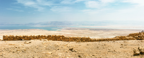 Aerial view of the Judaean Desert with the Dead Sea from the Masada plateau