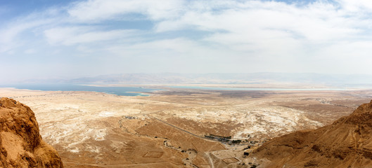 Aerial view from Masada, Israel; on the Judaean Desert with the Dead Sea on the horizon
