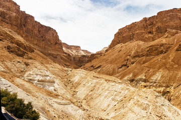 A canyon in the desert mountains