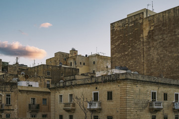 Detail of residential buildings in Valletta